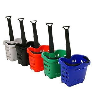 45 liters Plastic Shopping Wheel Basket with 2 wheels - The Meta Store