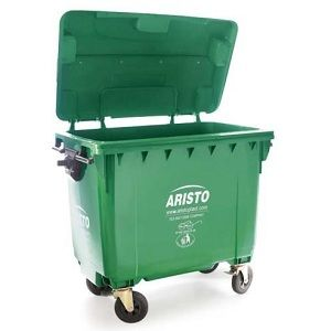 Aristo 660 liter waste container with 4 wheels