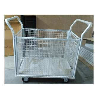 Steel material handling trolley with 4 mesh sides removable 500 kgs capacity