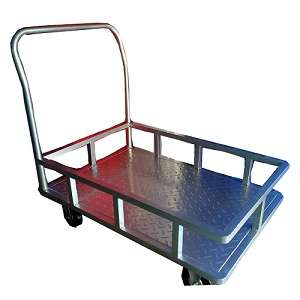 Steel platform trolley with 4 sides support railing 300 kgs
