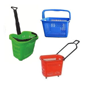 Plastic shopping basket and wheel baskets - The Meta Store